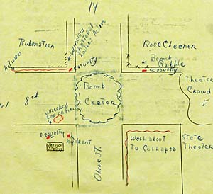 Drawing of intersection of west 8th ave. and Olive st. shows bomb crater drawn in center.