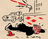 Cartoon man lying on ground with hands over ears while siren blasts.