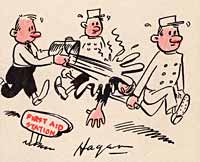 "2 cartoon men carry another man on a stretcher while another man throws bucket of water on him. Sign points ""First Aid Station"""