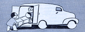 Cartoon of 2 men loading a person in a stretcher into an ambulance.