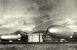 Photo of blimps at the Tillamook Naval air station.