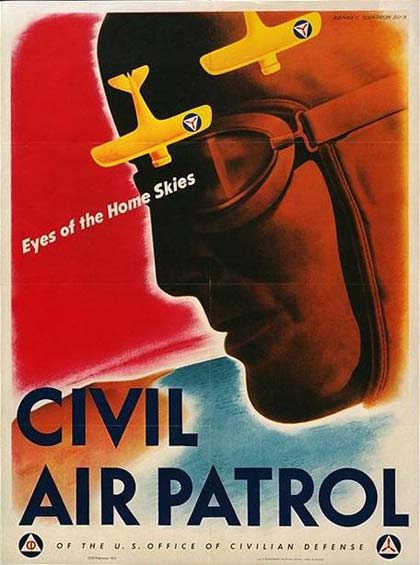 "Drawing of man with flying goggles and cap. 2 airplanes fly over him. Reads ""Civil Air Patrol"" ""Eyes of the Home Skies"""