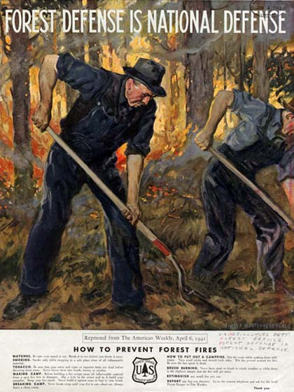 Drawing of 2 men with shovels working in a burning forest.