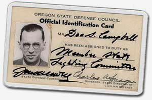 Oregon State Defense Council official identification card for Don Campbell with photo of Don on left.