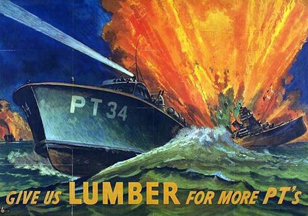 "Drawing of ship with ""PT34"" on side being hit by missle with words, ""Give us lumber for more PT's"""