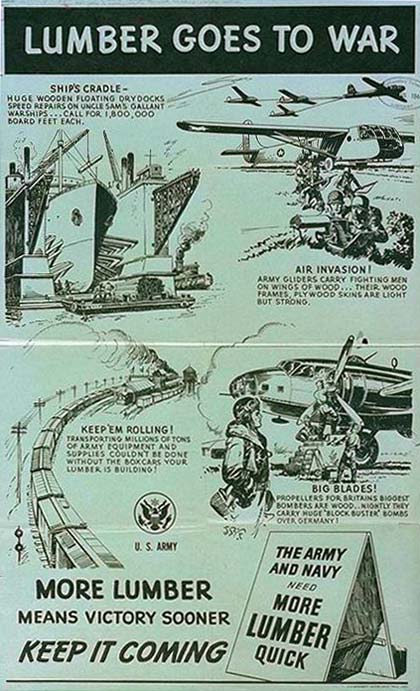 "Poster ""lumber goes to war"" with drawing of ship's drydock, airplanes, rail boxcars, propellers, all made from lumber."