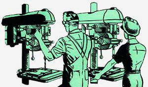 Drawing of man and woman working at machines, possibly drill presses.