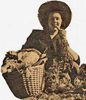 Woman in sun hat eats a carrot from a basket of produce.
