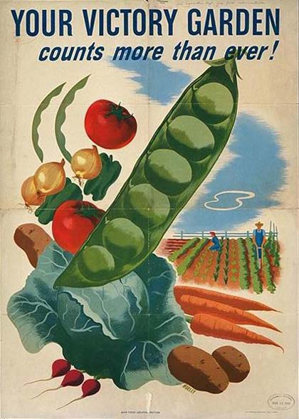 "A poster with drawings of vegetables reads ""Your Victory Garden counts more than ever!"""