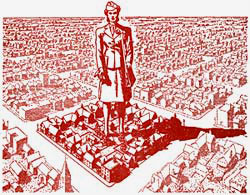 Drawing of city with giant, bigger than life, female block leader standing in the middle.