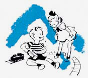 Drawing of girl and boy playing with train set.