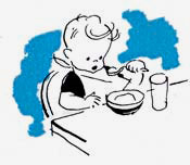 Drawing of child in high chair eating mush or cereal.
