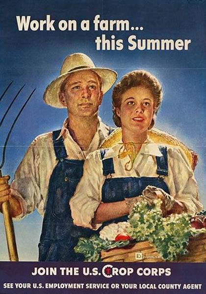 "Man and woman in overalls. Woman holds basket of vegetables. Text reads ""Work on a farm...this summer"""