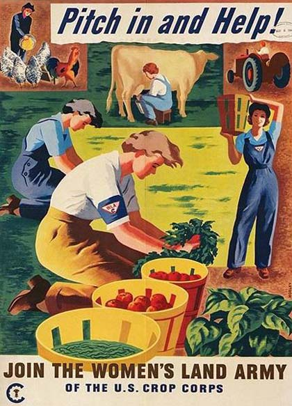 "Poster of women working at milking cow, picking vegetables, feeding chickens. Text reads ""Pitch in and help!"""