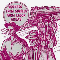"Drawing of 5 people walking along side train on rail track. Text reads ""Workers from surplus farm labor areas"""