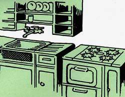 Drawing of kitchen with sick, faucet, stove and cupboards.