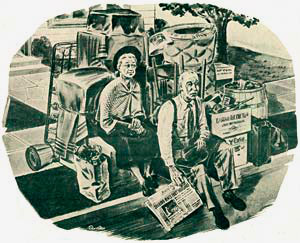 Drawing of elderly man and woman sitting on curb with their belongings in boxes.