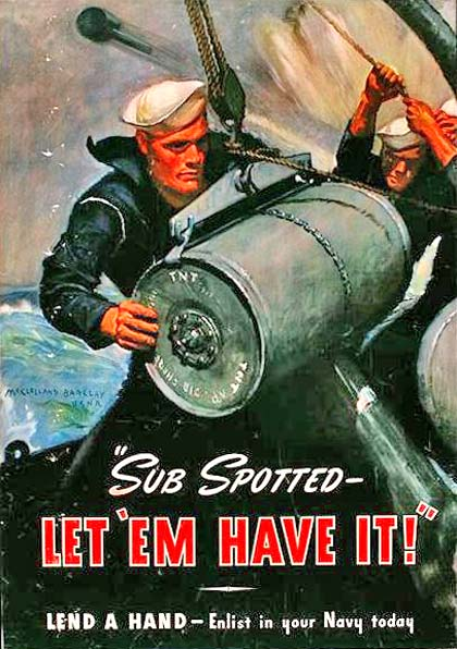 "Drawing of sailors working on ship at sea. Text reads ""Sub Spotted - let 'em have it! Lend a hand - enlist in your Navy today"""