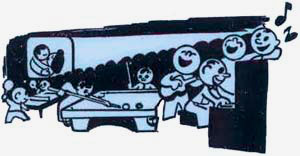 Drawing of men playing pool, playing the piano & singing, watching a movie.
