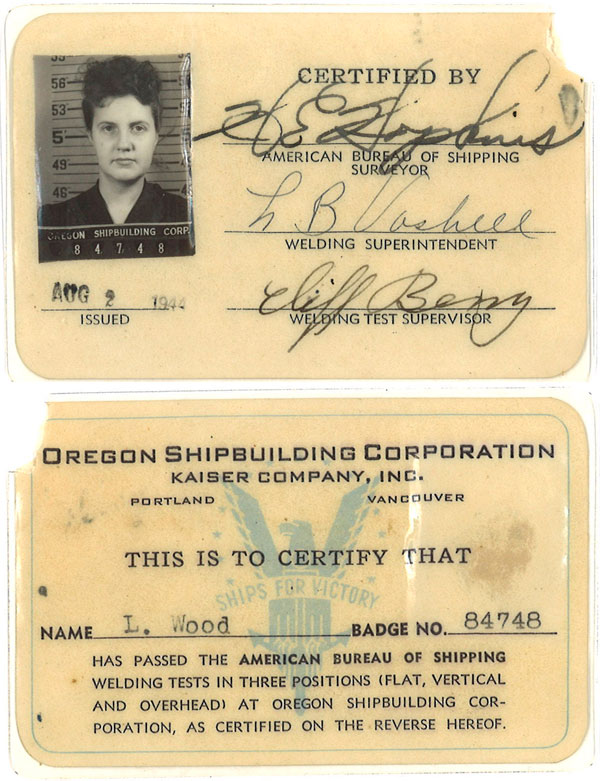 "Certificate card show's Lucy Wood's photo & ""Oregon Shipbuilding Corporation Kaiser Company Inc. Portland Vancouver"""