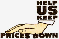 """Help us keep prices down"" with drawing of a hand holding words ""prices down"" down."
