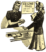 "Drawing of woman behind counter helping woman customer with purchase. Sign on wall reads ""Ceiling price"""