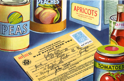 Illustration of war ration book on a table surrounded by cans of food.
