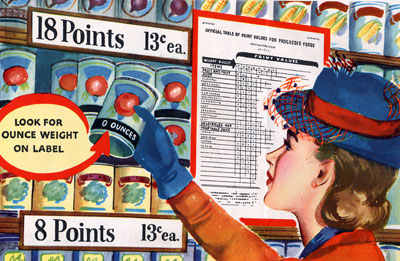 "Woman holds can of fruit or vegetable under sign that reads ""18 points"" and below a sign ""Look for Ounce Weight on Label."""