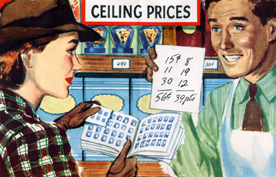 Illustration of woman holding ration book in front of a man holding a piece of paper with 56 cents eualing 39 points.