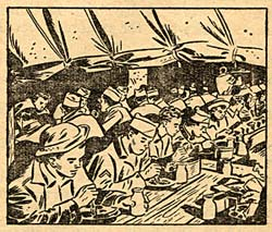 Drawing of dozens of soldiers sitting at long tables eating a meal.