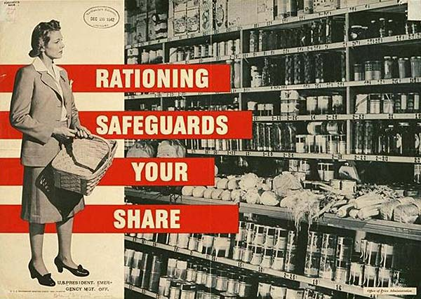 "Woman in supermarket looking at aisle of food. Printed to her side: ""Rationing safeguards your share."""