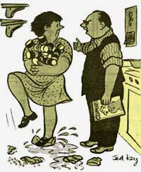 Cartoon of husband & wife standing in kitchen. She holds about a dozen tin cans in her arms.