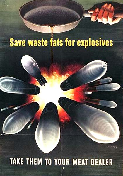 "Drawing of frying pan dripping oil on exploding bombs. ""Save waste fats for explosives"" reads the text."