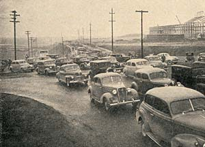 Photo of cars jammed up on a road.