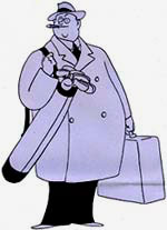 Drawing of fat man in hat and over coat with briefcase and golf clubs in bag.