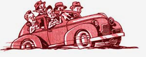 Drawing of 5 people in 1 car.