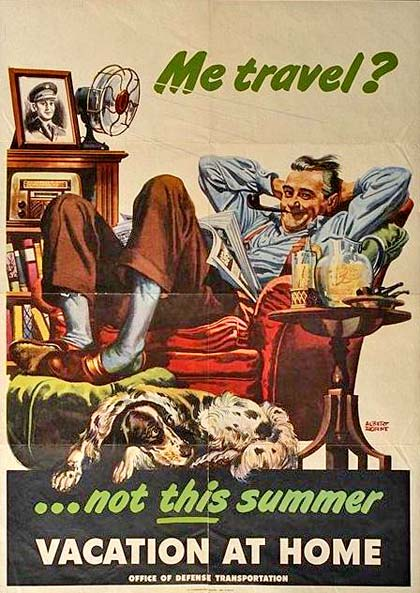 "Drawing of man with feet up in arm chair and dog relaxing on floor. Text reads ""Me Travel? Not this summer. vacation at home"""