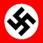 Black swastika on white circle on red background.