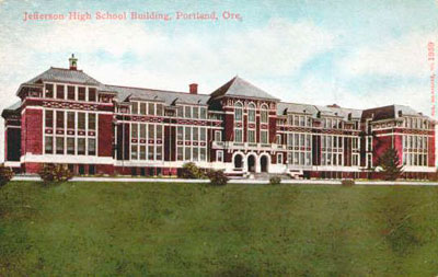 Colorized drawing of Jefferson High School, Portland Oregon.