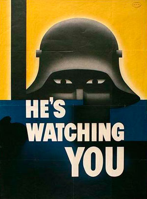 "Dark helmet with eyes below and the words ""He's Watching You."""