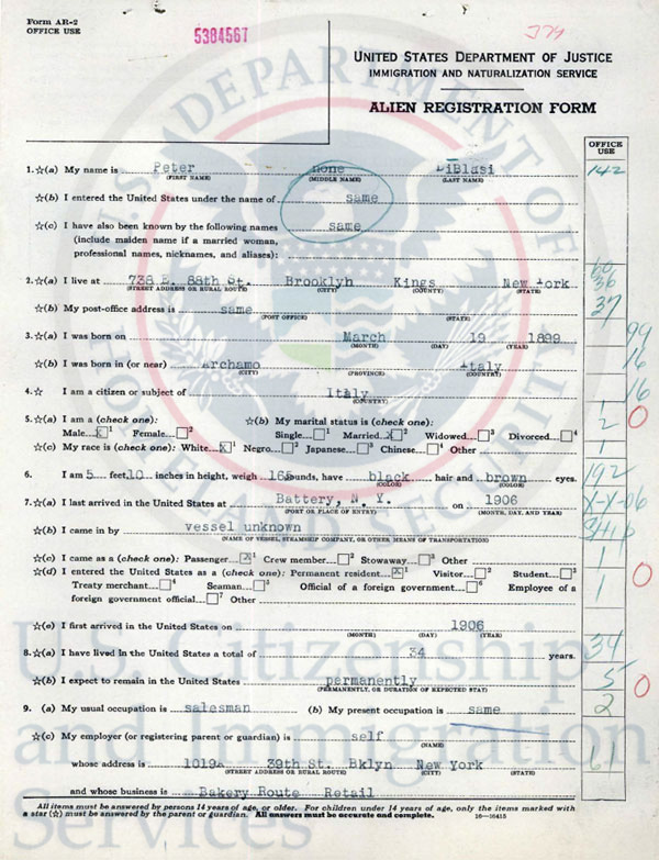 Department of Justice Immigration and naturalization service alien registration form.