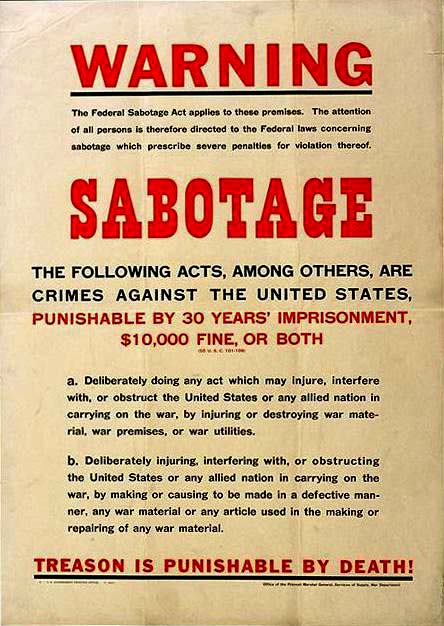 "Poster warning about Sabatoge says ""Treason is punishable by death!"""