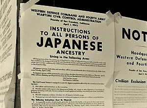 Sign reads: April 1, 1942 Instructions to all persons of Japanese ancestry living in the following area