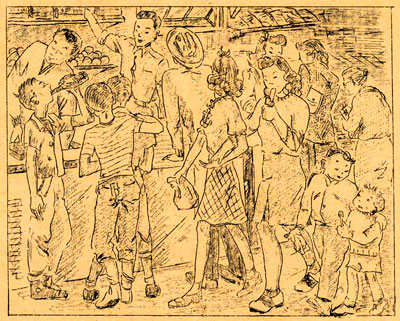 Drawing of young Japanese gathered around counter of store.