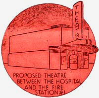 "Drawing of theater with words ""Proposed theatre between the hospital and the fire station#1"""