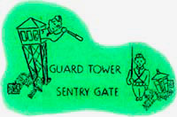 "Cartoon drawing of man in guard town looking through scope at guard on ground. ""Guard tower sentry gate"" printed."