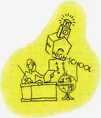 "Cartoon drawing of person at desk, school building, globe and words ""high school"""