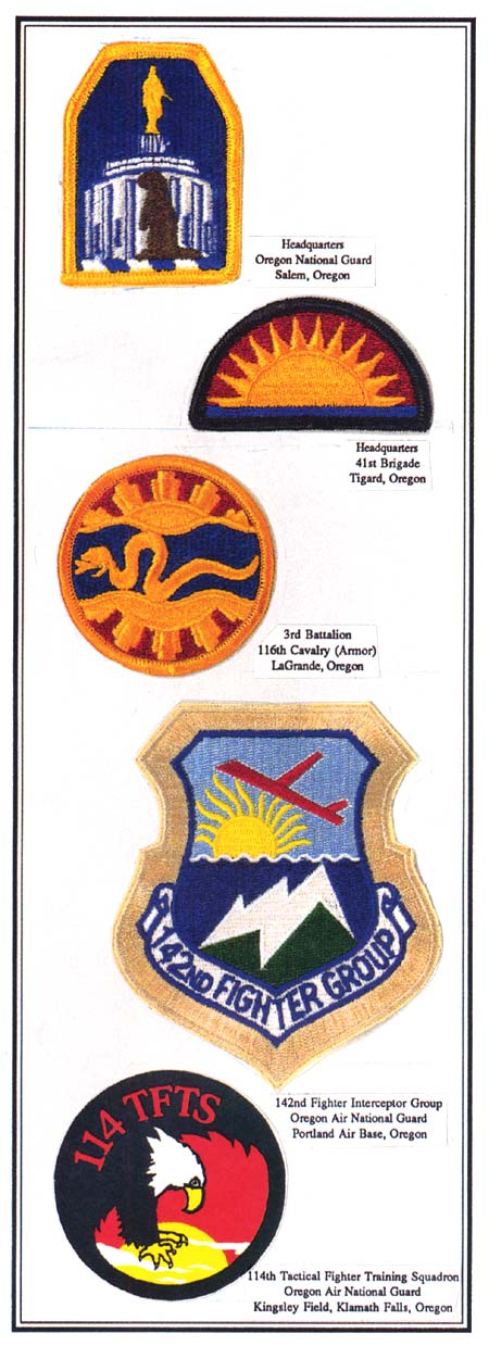 Insignias of the National Guard including the Salem Capitol Building, A sun, A snake & sun, 142nd fighter group patch, an eagle
