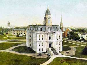 Color drawing of Marion County Courthouse in 1873.
