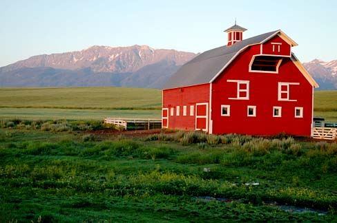 3 story red barn with bell tower. White picket fence on green pasture with snow tipped mountains in back.